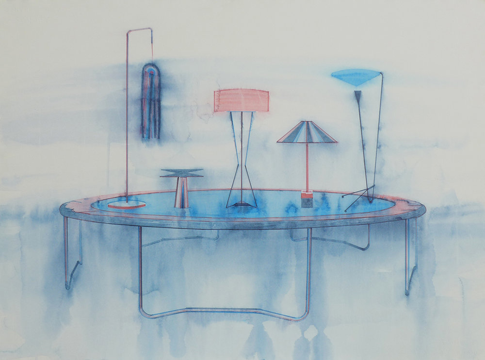Chris Finley,  Lamp Trampoline 3 , 2016, watercolor on paper, 22 x 30 inches