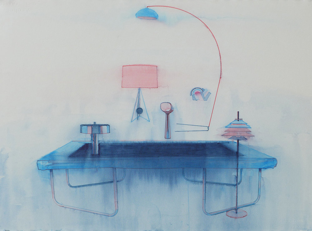 Chris Finley,  Lamp Trampoline 2 , 2016, watercolor on paper, 22 x 30 inches