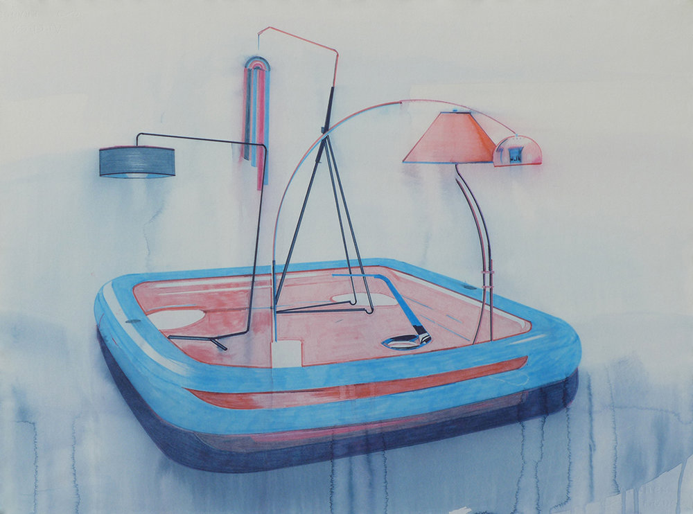 Chris Finley,  Lamp Pool 3 , 2016, watercolor on paper, 22 x 30 inches