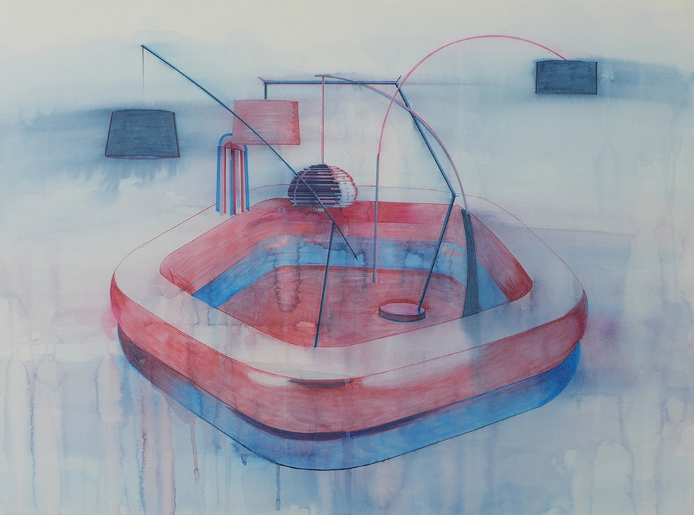 Chris Finley,  Lamp Pool 2 , 2016, watercolor on paper, 22 x 30 inches