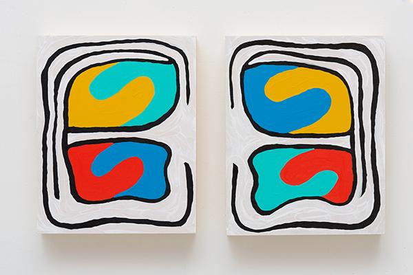 "Monique Prieto, ""Shrimp Chip,"" 2016, acrylic on wood panel, 10 x 17 1/2 x 2""."