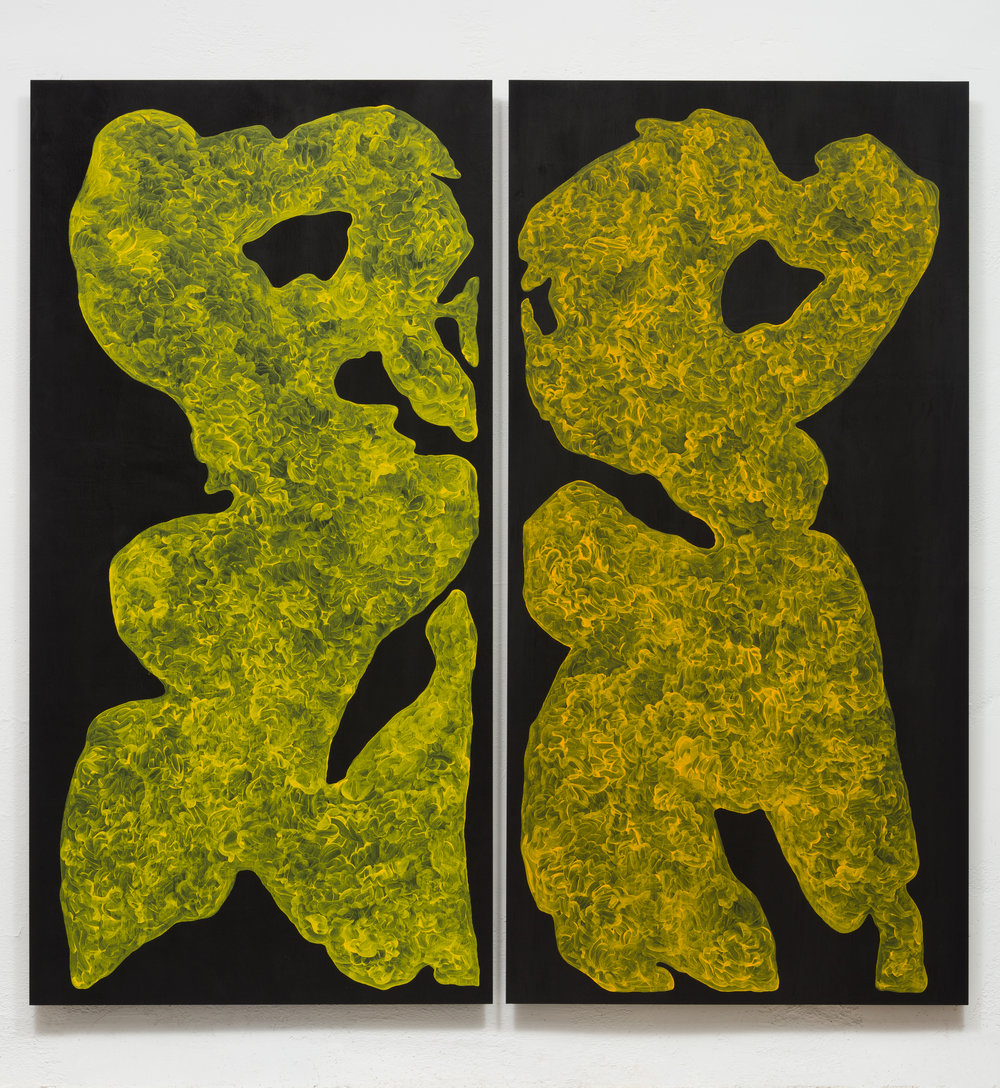 Monique Prieto,  Yellow Set , 2017, acrylic on panel, 72.5 x 72.5 inches (diptych)