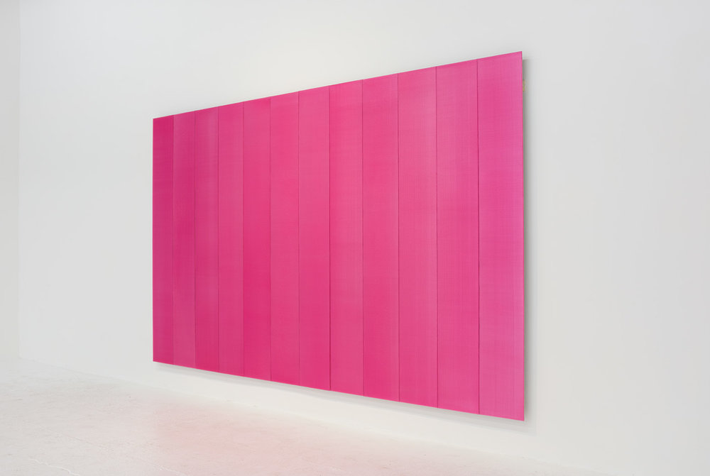 Roy Thurston,  2016 -1 , 2016, pink silicone on aluminum panel, 72 x 120 x 1 1⁄2 inches