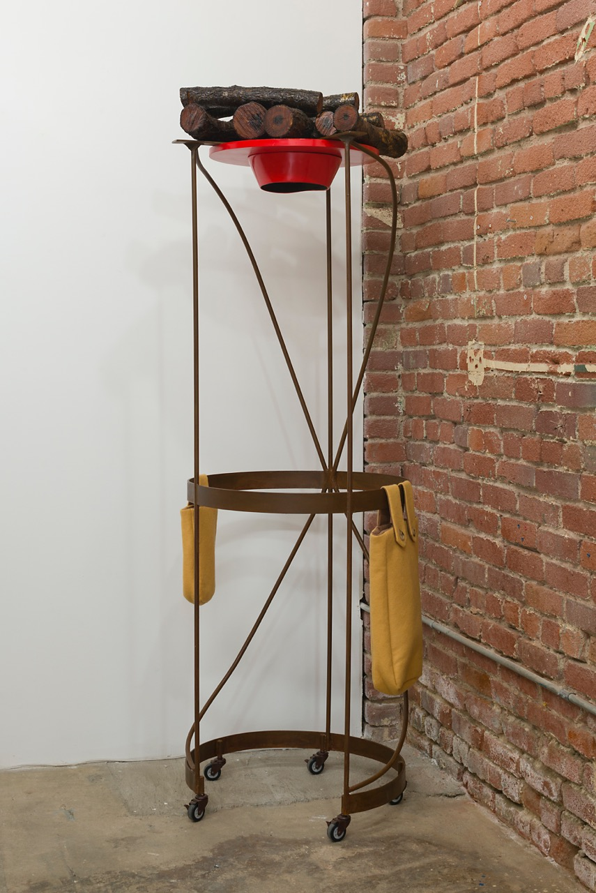 Phyllis Green,  RED HAT,  2015. Metal, wood, fiberglass resin, cloth, 75 x 24 x 23 inches. Photo: Ruben Diaz.