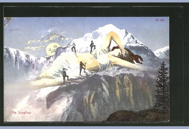 Postcard, The Jungfrau as a mountain with climbers, 1906