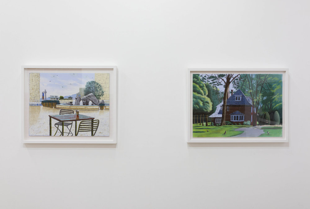 Cole Case, 'Getty Fountain 1.16.18 Looking 255 Degrees West', 2018, pastel on paper 19 x 24 inches and 'Kurt Vonnegut Home, Indianapolis 5.29.17', 2017, pastel on paper 19 × 27 inches. Photo: Ruben Diaz.