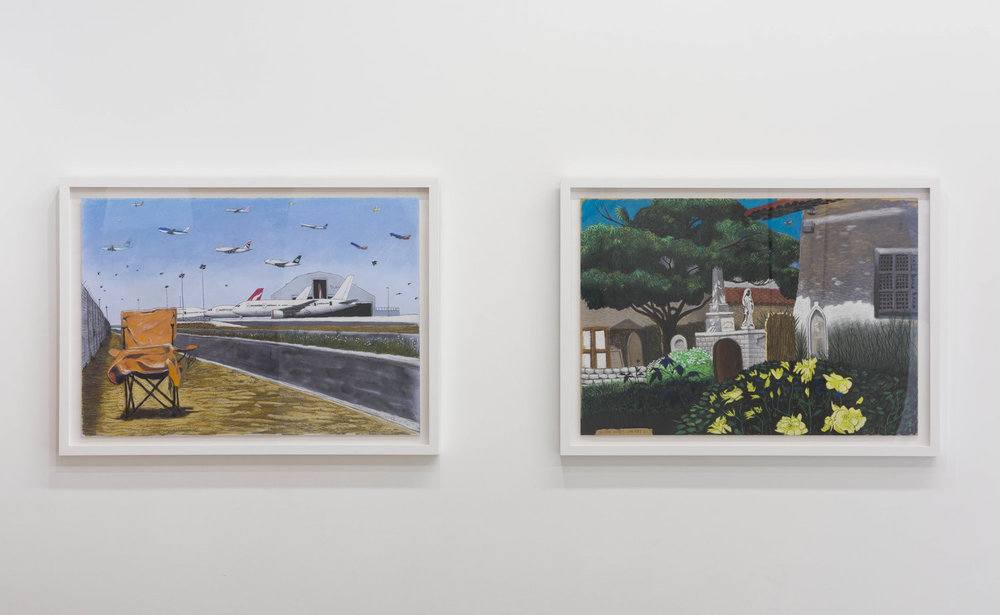 Cole Case, 'LAX Qantas Hangar and Chair Looking Due North', 2017, Pastel on paper 19 × 27 inches and 'Mission Dolores Cemetery 5.1.17', 2017, pastel on paper 19 × 27 inches. Photo: Ruben Diaz.