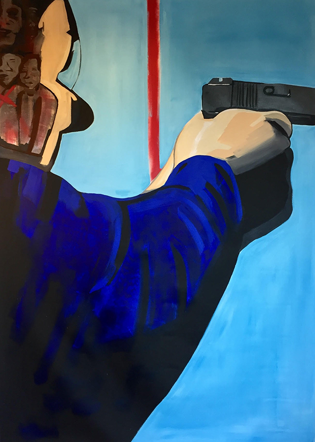 Kirk, Forrest.  Judge, Jury, and Executioner  (2018). Acrylic, spray paint, and gorilla glue, 72 x 108 inches. Photo provided by artist.