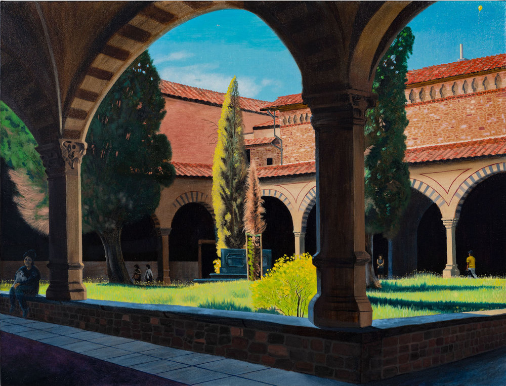 "Cole Case's ""Chiostro Verde, Santa Maria Novella, Looking 315 Degrees NW,"" 2018. Oil on linen, 38 by 50 inches. (Ruben Diaz / Cole Case and E.C. LINA)"