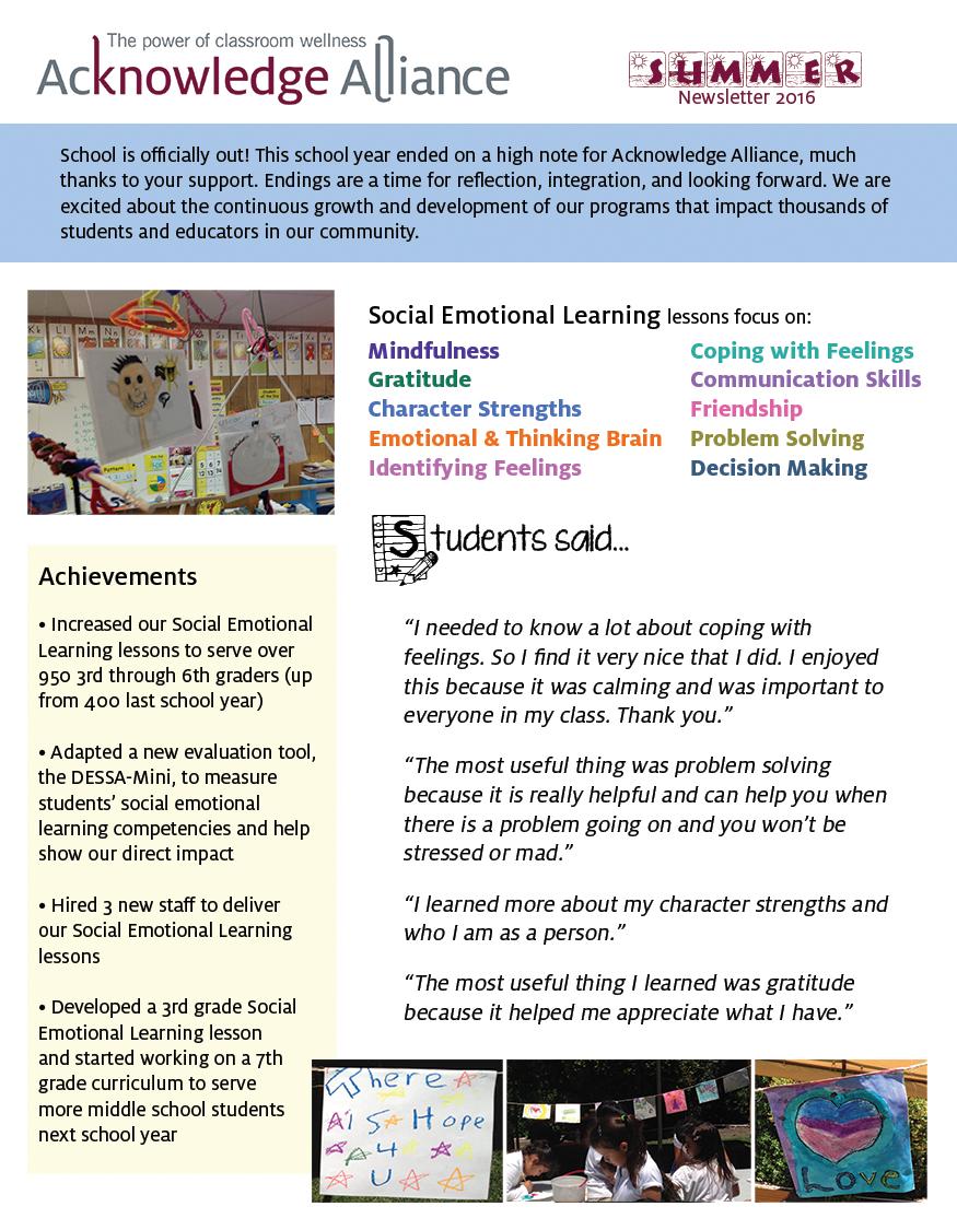 news acknowledge alliance summer newsletter