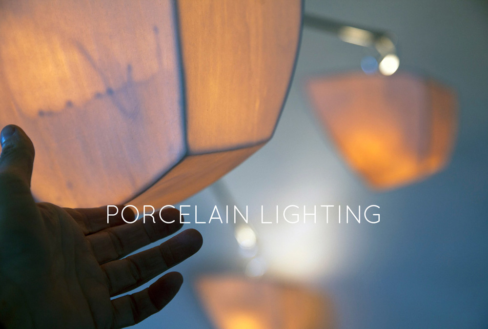 Andrea's cast porcelain work clearly shows her long-term investigation of form and surface .  She makes 2 shapes glowing cast porcelain for the chandeliers.