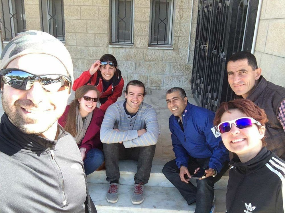 The camp leadership team meets in Amman at Sport City to plan for this year's events. (L to R: Bishr Khasawneh, Lilly Frost, Lena Hamvas, Matthew Liston, Ibrahim Abu Asbeh, Batoul Arnaout, and Mohammad Al-Sweity).