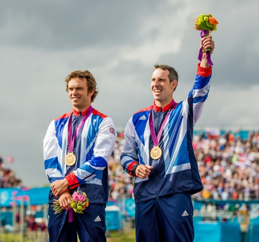 London 2012 Canoe Slalom Podium. Tim Baillie (L), Etienne Stott (R). Photo credit: Anthony Edmonds