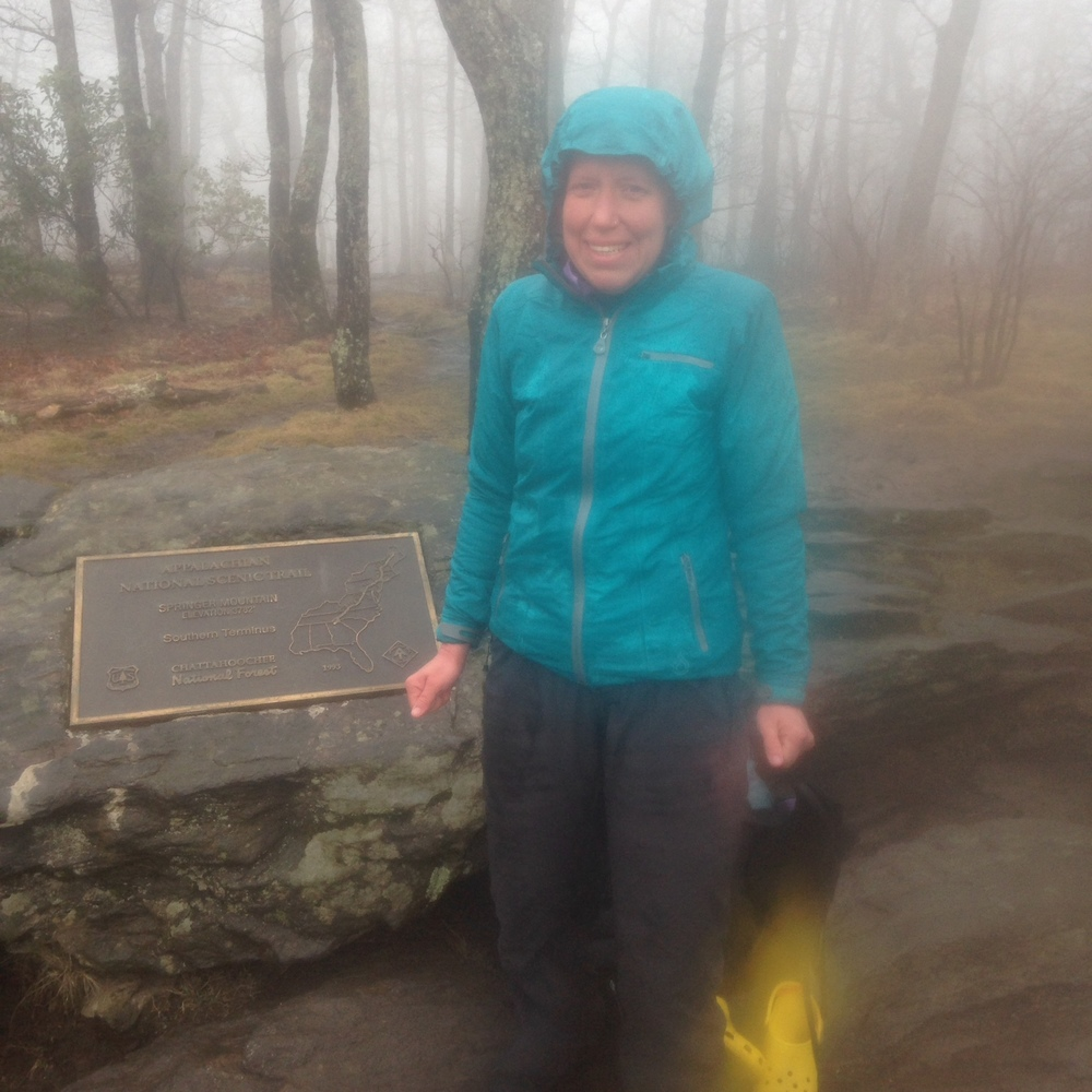 Freezing, but elated on Springer Mountain!