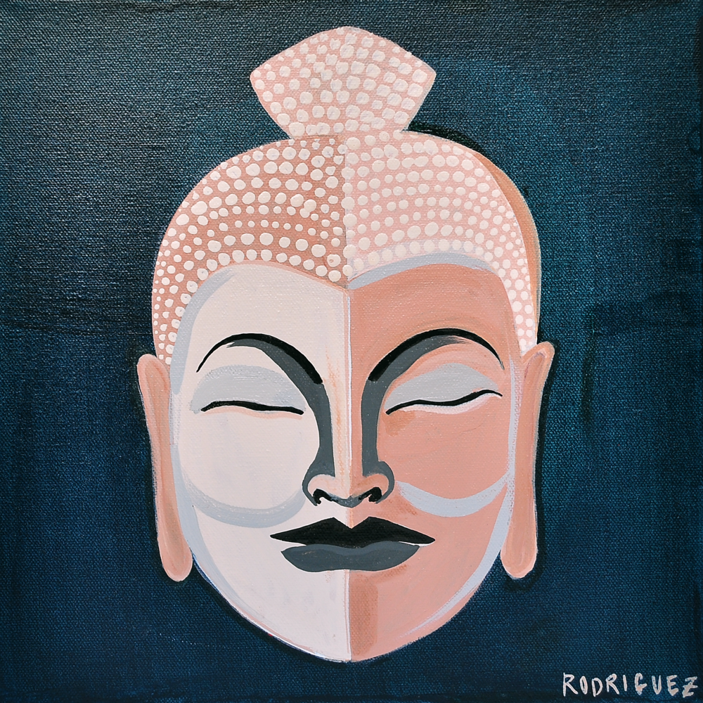 Buddha Head - Turquoise Neutrals - 12x12 - by Marianne Angeli Rodriguez.png