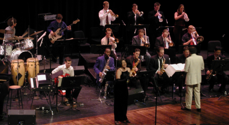 Cal Poly University Jazz Band - Our jazz band program combines the professionalism of a working big band with the academic rigor of cutting-edge big band repertoire.The University Jazz Band has been professionally contracted to perform at the world's largest jazz festival (the Sacramento Jazz Jubilee), the San Jose Jazz Society's Sunday jazz series, a swing dance series in Santa Barbara, the Morro Bay Jazz Festival, the Jazz Jubilee in Pismo Beach, and as an opening act for Don Byron and comedian Bob Newhart.The Cal Poly jazz bands perform specialized repertoires, including modern big band concert compositions, swing dance, world music (including Ethiopian pop), heavy-metal (music from Pat Boone's In a Metal Mood big band album), TV themes, and jazz for cartoons.The University Jazz Bands have received unanimous superior evaluations at collegiate jazz festivals, and was rated as the best four-year collegiate big band at U.C. Berkeley's Pacific Coast Collegiate Jazz Festival.
