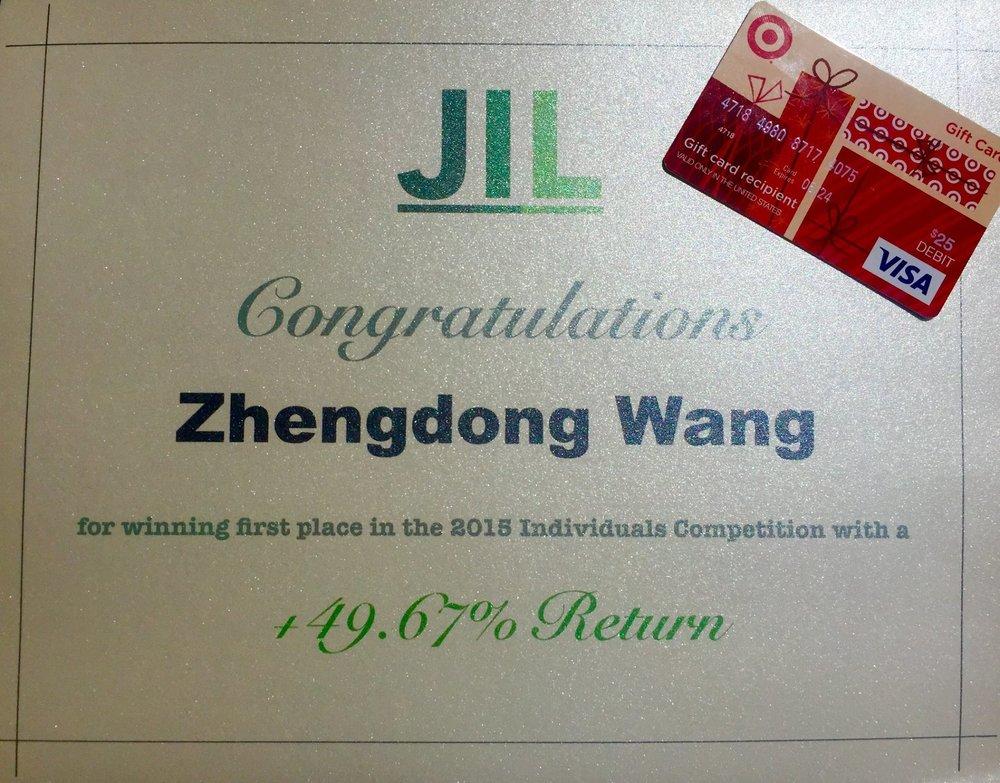 First Place: Zhengdong Wang (+49.67%)