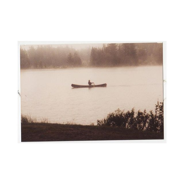 Looking through the 6 billion camp photos we have and always finding ones I've never seen. (Gramps canoeing at sunrise on Norridgewock Pond, 1982)