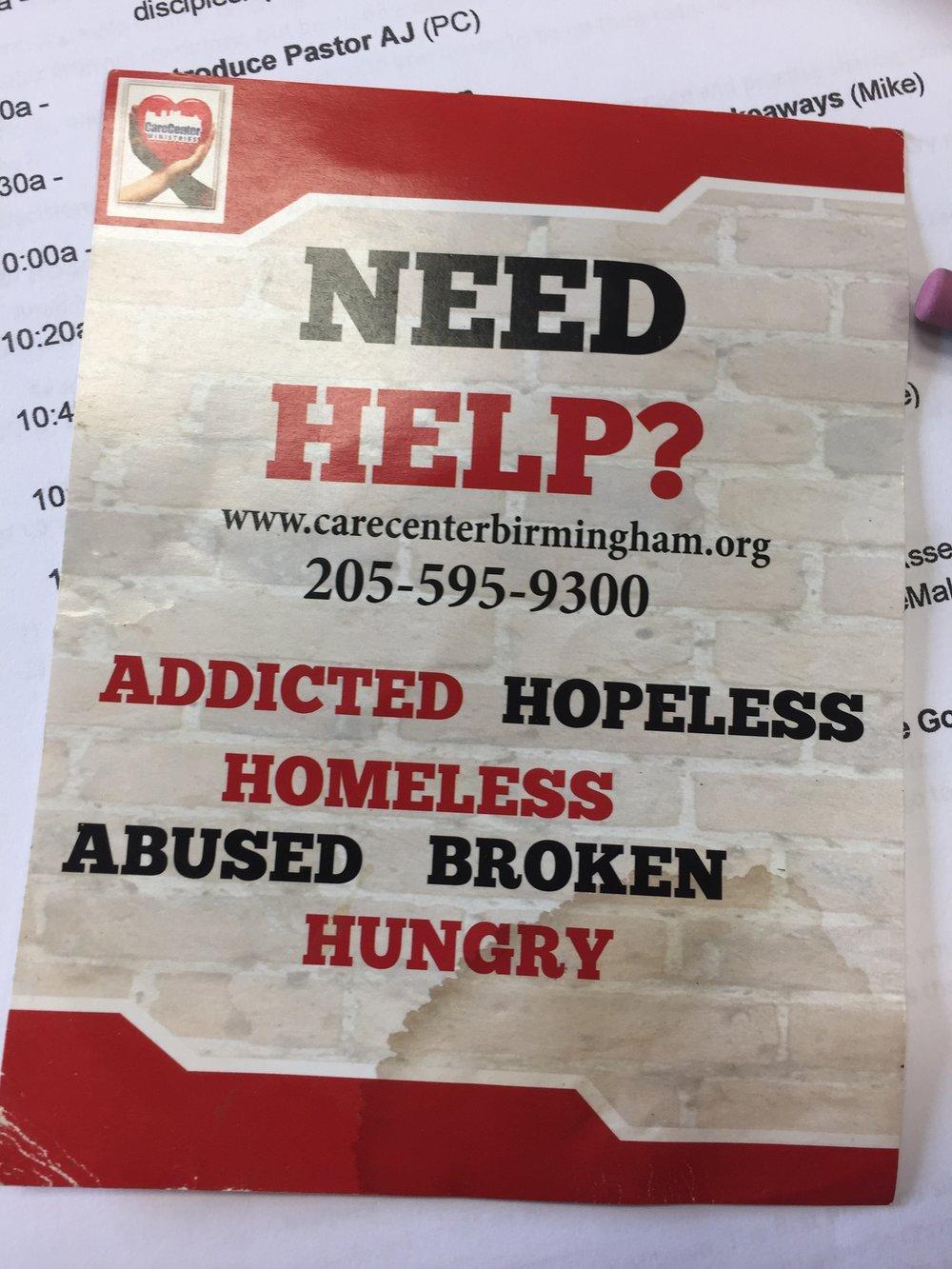 Pastor AJ's handout to the homeless.