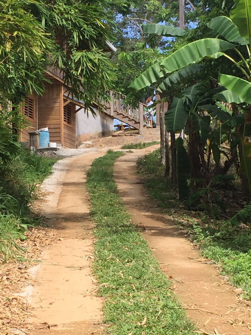 The steep road up to the school where the back packs were distributed