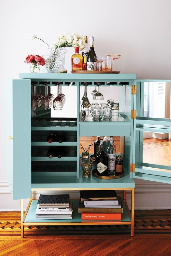 Teal Blue Cabinet Used as Bar Cart.jpg