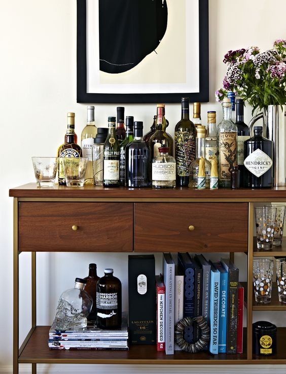 Wood Console Table as Bar Cart.jpg