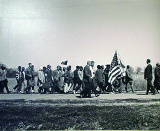 """Civil Rights Marchers Walking from Selma to Montgomery, Alabama, on Monday, March 23, 1965,''"
