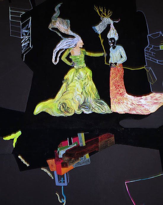 """Arcology'' (detail; gouache and Lascaux acrylics on archival papers), by Ilona Anderson"