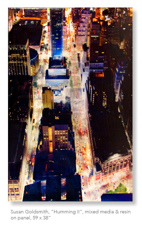 """Humming II'' (mixed media and resin on panel), by SUSAN GOLDSMITH"