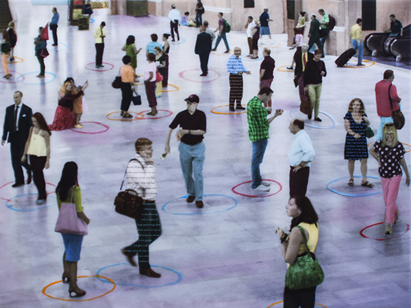 """Physicality'' (photography, oil, narrative text and resin on panel), by SHERRY KARVER"
