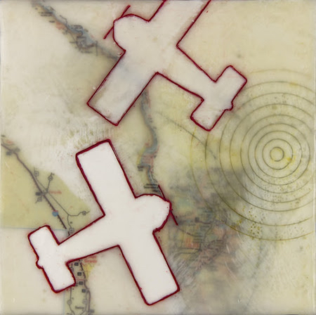 """Scott City'' (encaustic, oil and archival inkjet prints on wood panel), by PAIGE BERG RIZVI"