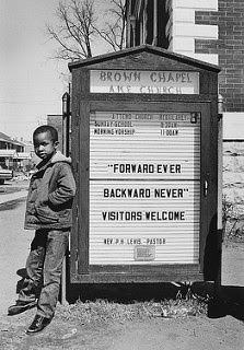 """Saturday, March 21 (1965). Afternoon. Taken on my arrival in Selma {Ala, at the Brown Chapel area,"" by JAMES H. BARKER"