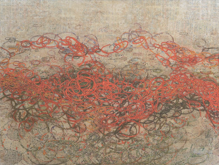 """What Lies Beneath #1'' (mixed media on board), by JAMISON FAUST"