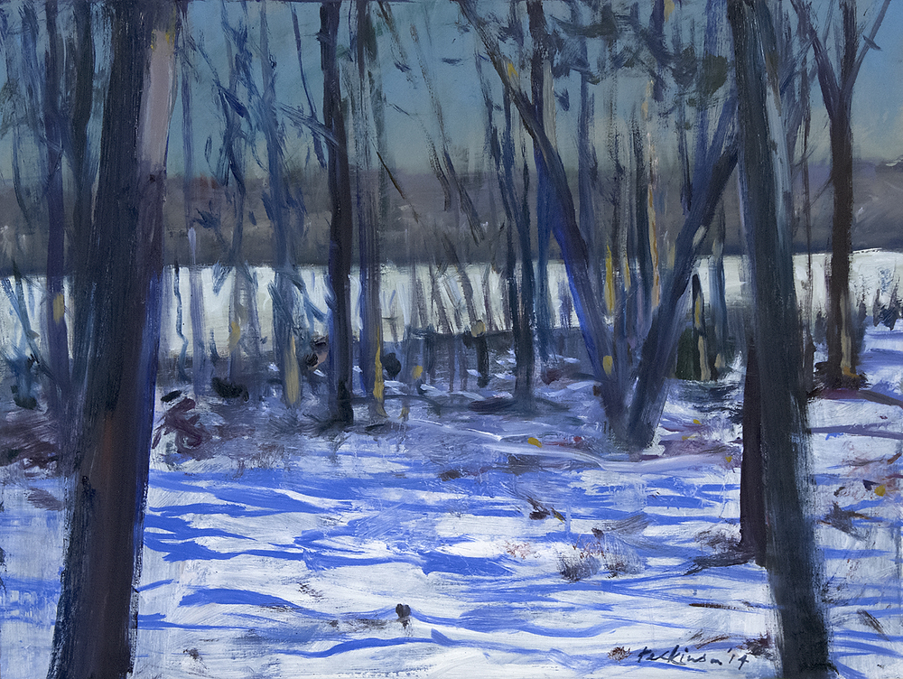 """Pond, through forest'' (oil on panel), by ROY PERKINSON, at Fountain Street Fine Art, Framingham."