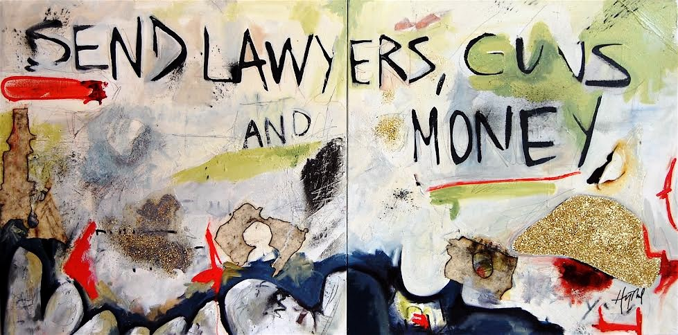 """""""Send Lawyers, Guns and Money - Warren Zevon"""" (oil, charcoal, graphite, pastel, collage and glitter on canvas), by Hilary Tait Norod, showing at Christopher's Restaurant, Cambridge, Mass."""