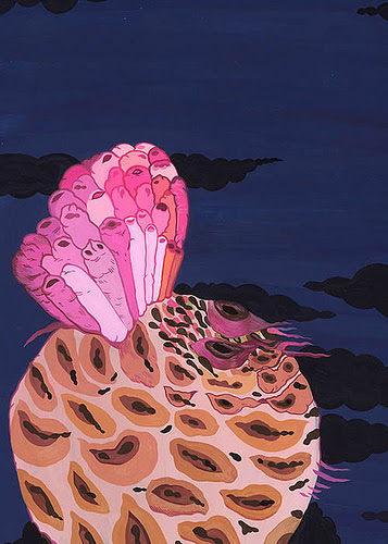 """Seed"" (gouache on paper), by Boriana Kantcheva, in the show ""The Sublime, Koans, and Myths Explored' 'this month at the Bromfield Gallery, Boston. Kantcheva aims to explore the natural world of myths."