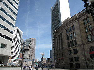 Dewey Square; South Station is on the right.