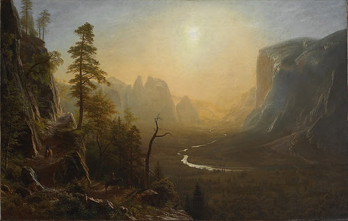 "''Yosemite Valley, Glacier Point Trail'' (1873), by Albert Bierstadt, in the show ""Exploring the Incomparable Valley,'' at the Yale University Art Gallery, New Haven, through Dec. 31."
