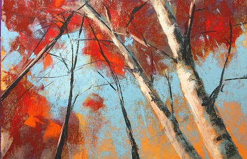 """Fall Trees""  (pastel on paper), by Dave Kaphammer, in the show ""32 Almost Miniatures,'' at Francesca Anderson Fine Art, Lexington, Mass., through Jan. 14. He   works primarily in pastels to evoke impressionist details of nature  to capture the beauty and personality."
