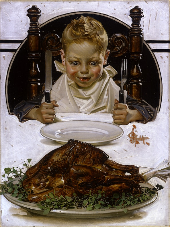 """Ready for Thanksgiving Feast'' (oil on canvas), by J.C. Leyendecker (1874–1951), at the National Museum of American Illustration, Newport, R.I. This kid's family was presumably very happy that World War I had ended on Nov. 11, 1918. But in part because of ill-considered, revenge-seeking peace treaties signed in 1919, there would be another, even worse, world war in 20 years. Perhaps the boy who was the model for the one here would fight in it. Perhaps he'd look back longingly at the family feasts of his childhood as he ate his Army K-rations.     This turkey, raised before big-time agribusiness, would never pass muster now -- too skinny, not enough steroids and antibiotics.                       Normal   0           false   false   false     EN-US   JA   X-NONE                                                                                                                                                                                                                                                                                                                                                                               /* Style Definitions */ table.MsoNormalTable 	{mso-style-name:""Table Normal""; 	mso-tstyle-rowband-size:0; 	mso-tstyle-colband-size:0; 	mso-style-noshow:yes; 	mso-style-priority:99; 	mso-style-parent:""""; 	mso-padding-alt:0in 5.4pt 0in 5.4pt; 	mso-para-margin:0in; 	mso-para-margin-bottom:.0001pt; 	mso-pagination:widow-orphan; 	font-size:12.0pt; 	font-family:Cambria; 	mso-ascii-font-family:Cambria; 	mso-ascii-theme-font:minor-latin; 	mso-hansi-font-family:Cambria; 	mso-hansi-theme-font:minor-latin;}         Image courtesy of, and copyrighted by, American Illustrators Gallery, New York, N.Y., 2016."