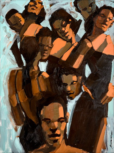 """""""Party Lines'' (oil on canvas), by Robert Freeman, in the show """"Robert Freeman: New Works,'' at Adelson Galleries, Boston, through Dec. 18."""