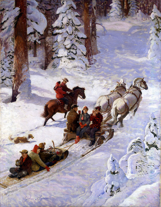 """Winter Sleigh Ride'' {would there be a summer one?} (oil on canvas), by John Clymer (1907-1989), Saturday Evening Post cover, Dec. 17, 1949, at the National Museum of American Illustration, Newport, RI. (© Image courtesy American Illustrators Gallery, NYC, 2016)"
