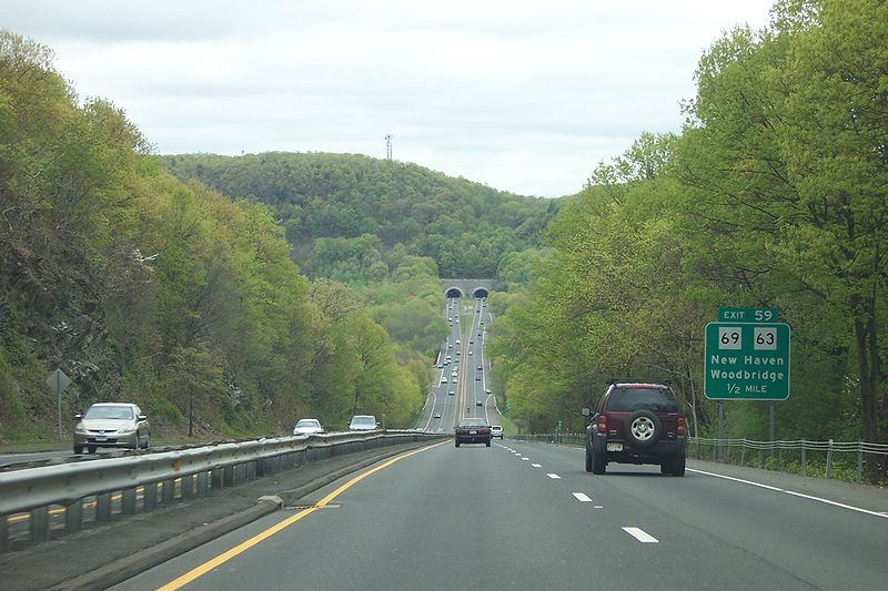 Springtime on Connecticut's Wilbur Cross Parkway.