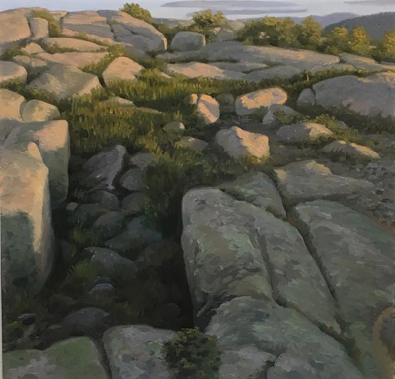 """Toward Cranberry'' {Island, Maine}  (oil on Lexan panel), by James Mullen, at Alpers Fine Art, Andover, Mass. The Maine Coast must be among the most beautiful coasts in the world. If only the water were a little warmer."