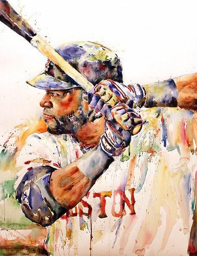 """Big Papi'' (David Ortiz) (watercolor), by Richard Sullivan, in ""New Members Show 2017'' at Copley Society of Art, Boston, Jan. 12-Feb 9."