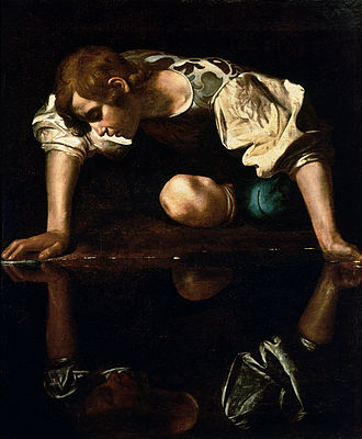 """Narcissus, '' by Caravaggio, shows the Greek mythological youth looking at his own reflection."