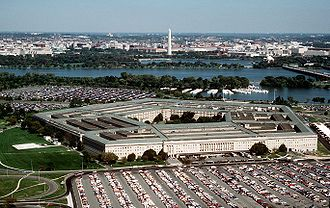 Looking toward the Potomac and Washington, D.C., with the Pentagon in the foreground.