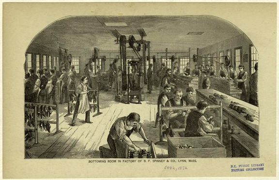 In the B.F. Spinney & Co. shoe factory in Lynn, Mass., in1872.