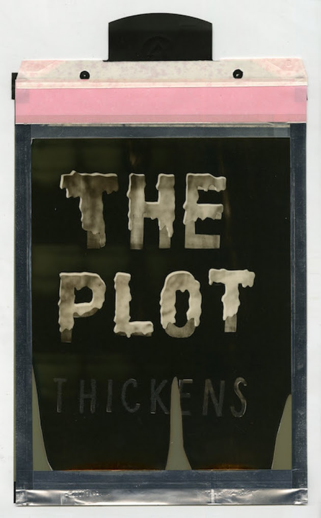 """""""The Plot Thickens (silver shade instant film), by Corey Escoto, in his show """"A Routine Pattern of Troubllng Behavior,'' at Samson Gallery, Boston, through April 1.    The Carnegie Museum of Art observed: 'The two- and three-dimensional works of Corey Escoto meditate on the production and consumption of illusion, both in terms of what we accept as photographic truth and, more broadly, how we distinguish fact from fiction in an ever more manipulated, media-saturated world.''"""