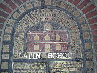 Marker commemorating the first location of the Boston Latin School, on School Street, founded in 1635 and the first public school in what would become the United States .